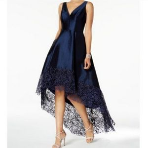 Betsy & Adam   Lace Trim High-Low Navy Gown